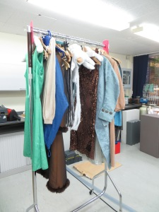 Our practice rail, garments for rolling, hoovering, packing and hanging