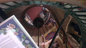 Spiral staircase at the Lyme Regis Museum, curled like an amonite