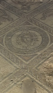 Medusa mosaic - Brading Roman Villa, one bad hair day
