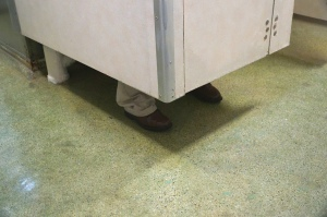 Perhaps my favourite from USS Midway, a random mannequin foot behind the toilet door, but what does the rest of the mannequin look like? via @L_Brasseur