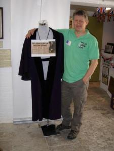 Headless and footless mannequin wearing Ed Minghella's gown from the Ryde Heritage Centre