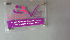 RAF Museum proudly displaying their Autism Access Award