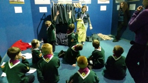 12th Hinkley Scouts trying on World War II uniforms