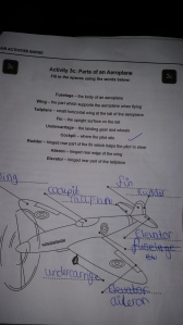 Air Activities Badge worksheet - recognising parts of a plane