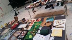 Artists materials used in handling sessions