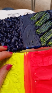 Exploring the texture of acrylic paints.