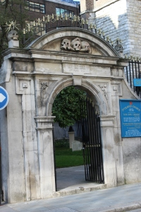 The church gateway from 1650 would have stood in Pepys' time