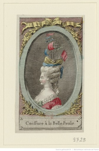 Coiffure à la Belle Poule Référence bibliographique : Hennin, 9728 Engraving View at National Library of France. Via Europeana http://www.europeana.eu