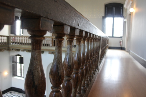 Wooden balustrade in the Great Hall.