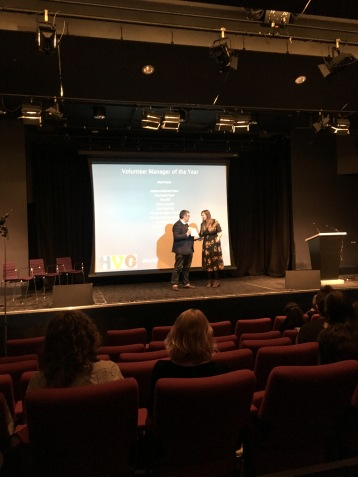 Nicola Seika collecting her award