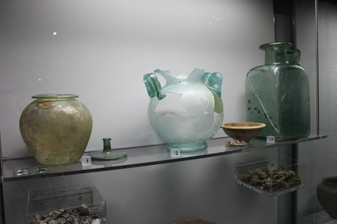 Glass vessels normally displayed at Roman Galleries Museum of London