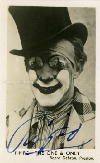 Pimpo the Clown - photograph from https://www.historyforsale.com/jimmy-pimpo-the-clown-freeman-printed-photograph-signed-in-ink/dc146818