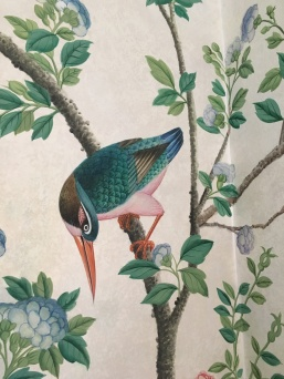 Hand painted wall paper.