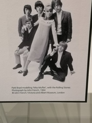 Patti Boyd modelling 'Miss Muffet' with the Rolling Stones. Photography by John French 1964.